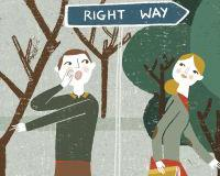 Illustration of a man trying to give the wrong directions to a female colleague, Marta Antelo for The Chronicle