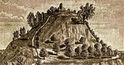 An 1887 print of an ancient site at Cahokia in present-day western Illinois