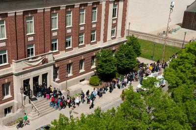 People lined up outside the Iowa Memorial Union