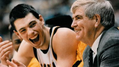Chris Street sharing a laugh with coach Tom Davis