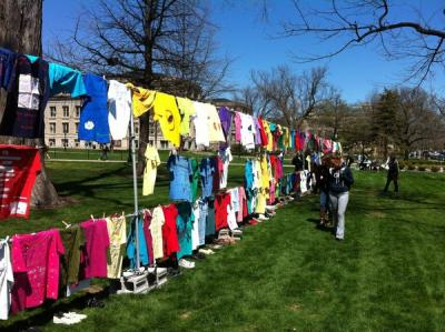 The clothesline project displays T-shirts that represent sexual assault victims and survivors on the Pentacrest