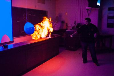 A student in General Astronomy ignites a fireball