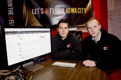 Entrepreneurs Joe Dallago, left, and AJ Nelson are photographed Monday at the University of Iowa's Bedell House. The pair created ClusterFlunk, a website students can use to share class notes, schedules, and more. / Benjamin Roberts / Iowa City Press-Citi