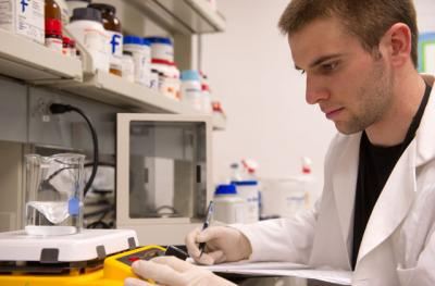 Dane Pratt working in the lab