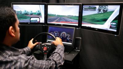 A driving simulator is used in a clinical trial of a sleep drug at NeuroTrials Research in Atlanta.