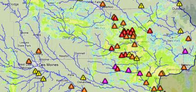 An image of a flood map used by the Iowa Flood Center