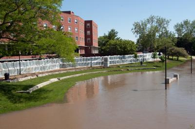 The IMU with flood walls surrounding it