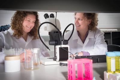 two women in a scientific lab