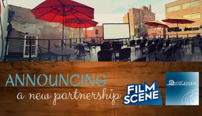 FilmScene rooftop patio with umbrellas and seats