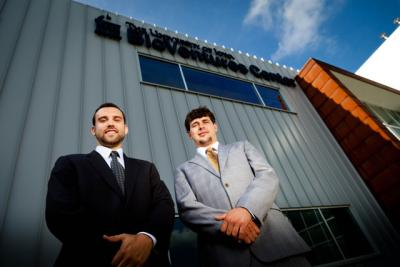 John Slump and Jared Garfield in front of BioVentures Center