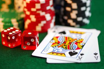 cards, dice, poker chips