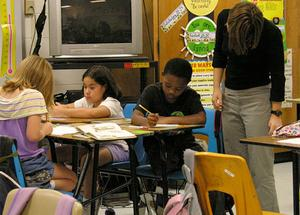 Photos of students in a classroom