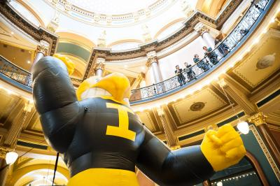 Inflatable Herky at the Capitol in Des Moines