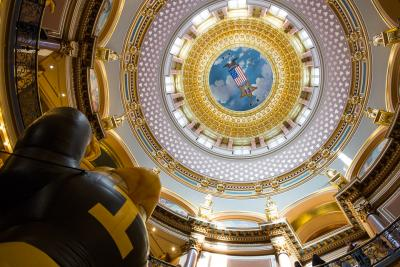 Looking upward into the Iowa State Capitol dome.