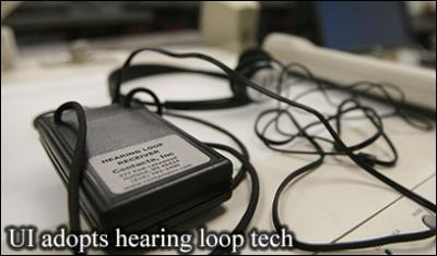 Image of hearing-loop technology being adopted at UI