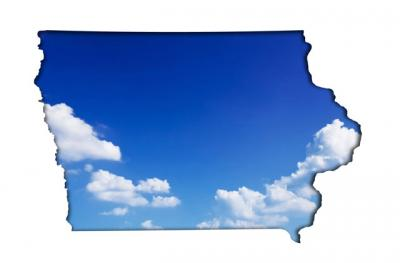 blue skies contained within the state of Iowa outline