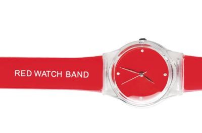 "a red watch with the inscription ""red watch band"" on the band"