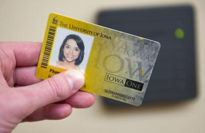 An Iowa One Card is swiped before an access reader