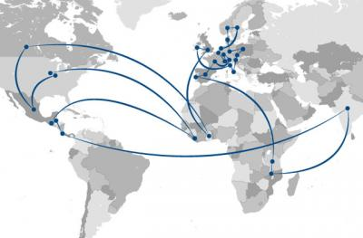 world map showing the travels of Stephanie Lukas