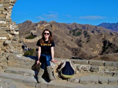 "Natalie Gilkison wears a Chinese ""University of Iowa"" shirt while in China."