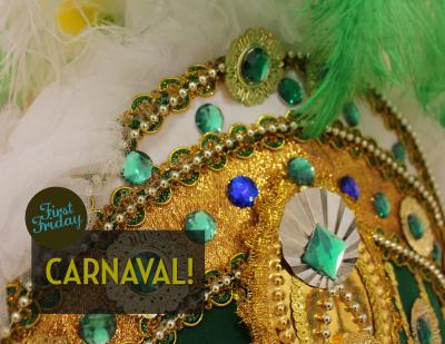 A close up photo of a portion of a Carnaval costume head-dress