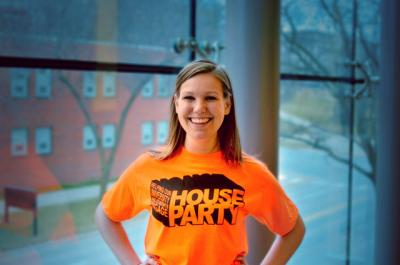 portrait of Katherine Valde wearing HOUSE party T-shirt