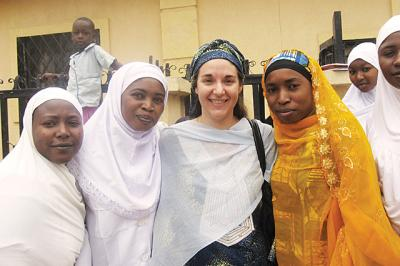 Katrina Korb, a UI alumna who received her PhD through the College of Education, emphasizes the importance of education with student healthcare workers in Nigeria