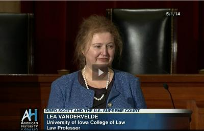 UI law professor Lea VanderVelde discusses the legacy of the Dred Scott decision in the August chambers of the Supreme Court