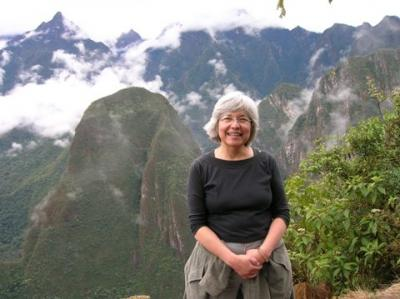Maria Hope in front of Machu Picchu in Peru
