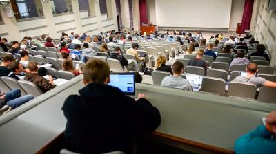 Students listening to lecture in Pappajohn Business Building