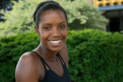 UI alumna and Olympic athlete Diana Nukuri-Johnson poses for a portrait in Iowa City