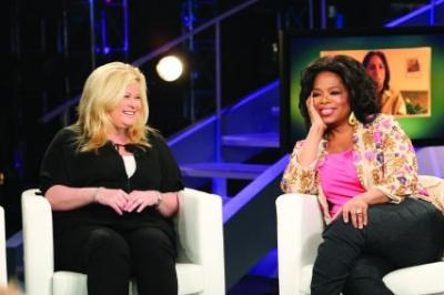 Sheri Salata talks with Oprah Winfrey on her show.