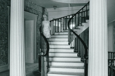 Margaret Keyes surveying the progress in the building in the early 1970s
