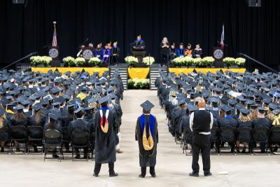 About 790 University of Iowa students received degrees during the College of Liberal Arts and Sciences and University College commencement ceremony on Dec. 17 at Carver-Hawkeye Arena.