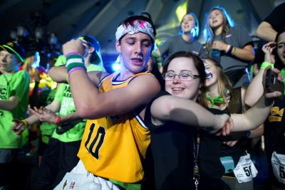 dancing together at dance marathon 23