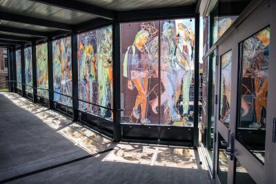 colorful art on windows