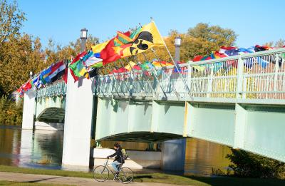 flags representing the home countries of university of iowa international students fly on the IMU footbridge