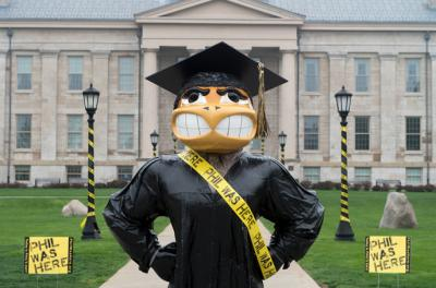 Graduation Herky returned to the Pentacrest just in time for Phil's day—and wore a sash to celebrate.