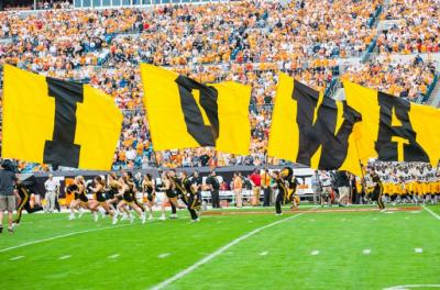 Iowa flags on the field