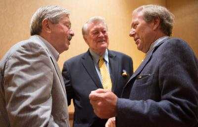 Bruce Harreld, Terry Branstad and Hayden Fry before going on stage at FryFest
