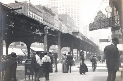 1908 photo of corner of Wabash and Congress in Chicago