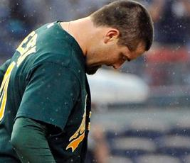 Oakland Athletics relief pitcher Pat Neshek's first son, Gehrig, died, Oct. 3, 2012, just 23 hours after he was born. (Bill Kostroun/AP Photo)