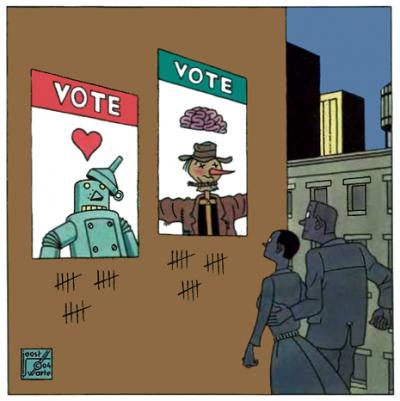 An illustration of a woman and man looking up at two posters, one showing a tin man voting with his heart and a scare crow voting with his head.