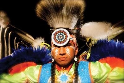 Larry Yazzie is the arena director of the University of Iowa Pow Wow April 13 and 14. Photo by Christal Moose