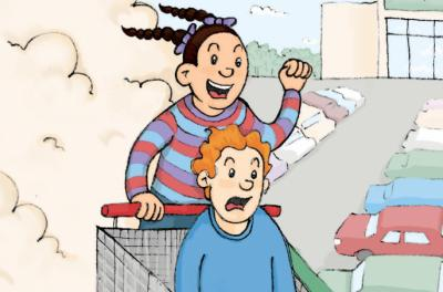 Illustration of two kids racing down a hill in a shopping cart