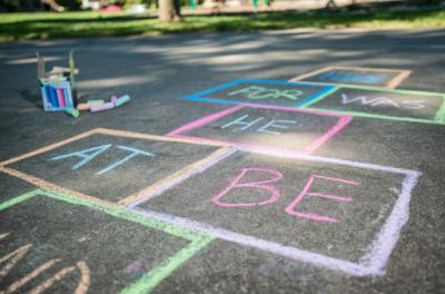 hopscotch drawn with sight words in each box