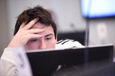 student looking at computer screen