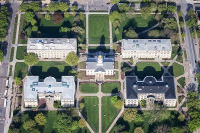 aerial view of pentacrest
