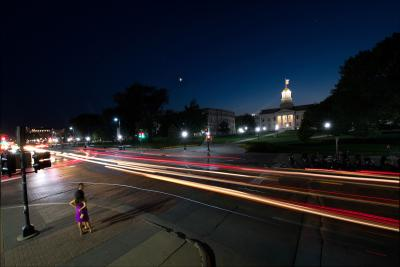 nighttime traffic in front of old capitol