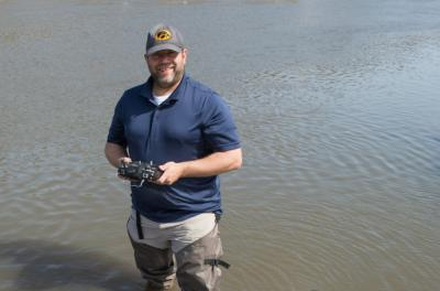 Michael Simon, a veteran and geoscience major from Guttenberg, Iowa, invented a mechanism to clear river debris, sparked by an idea he had during a geology class.